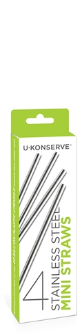 UKonserve Stainless Steel Mini Straws - 4pk