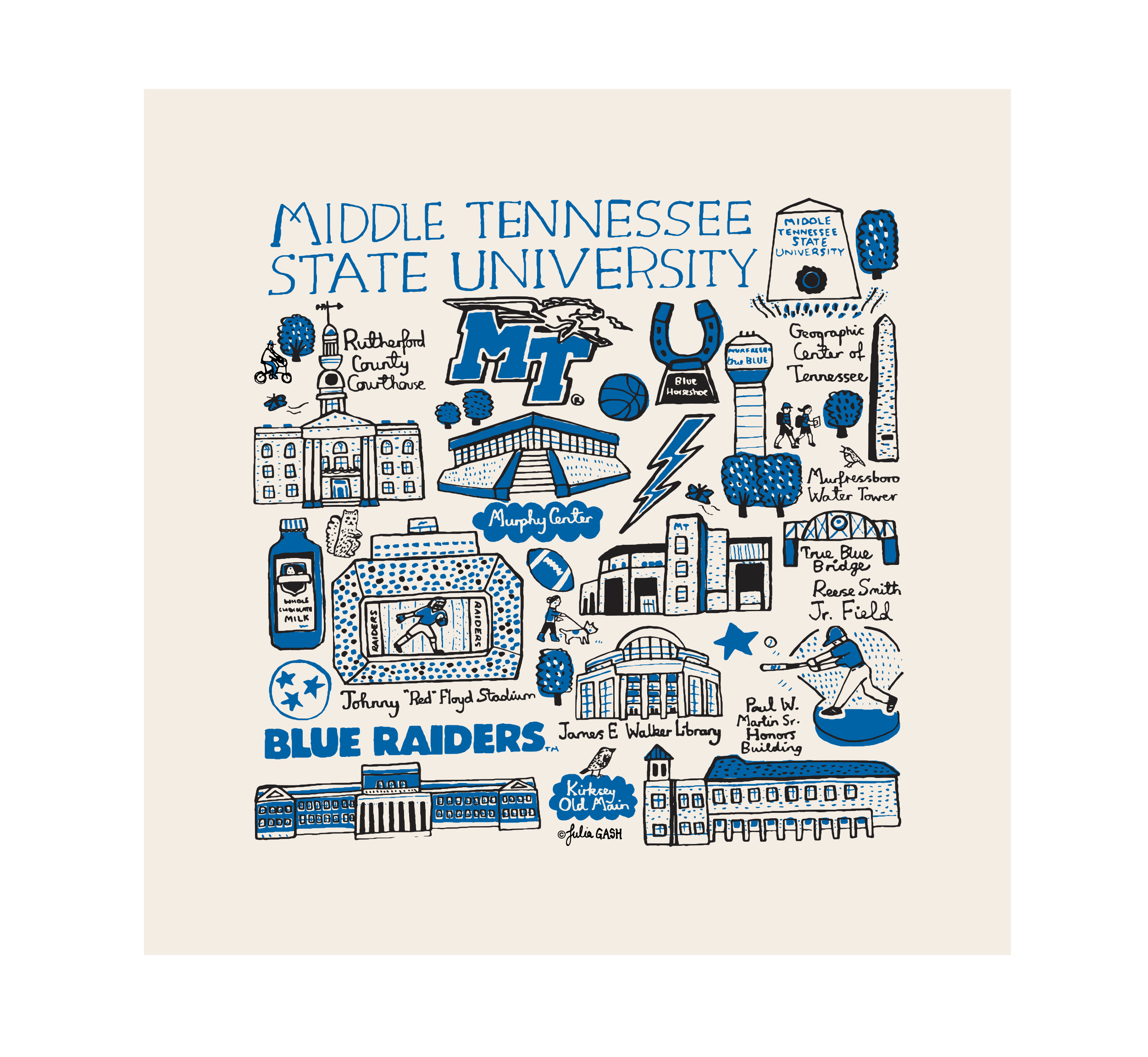 MTSU Julia Gash Natural Kitchen Towel