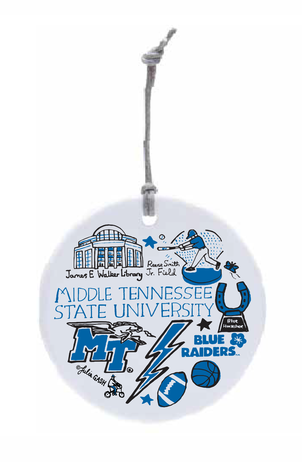 MTSU Julia Gash Ceramic Circle Ornament