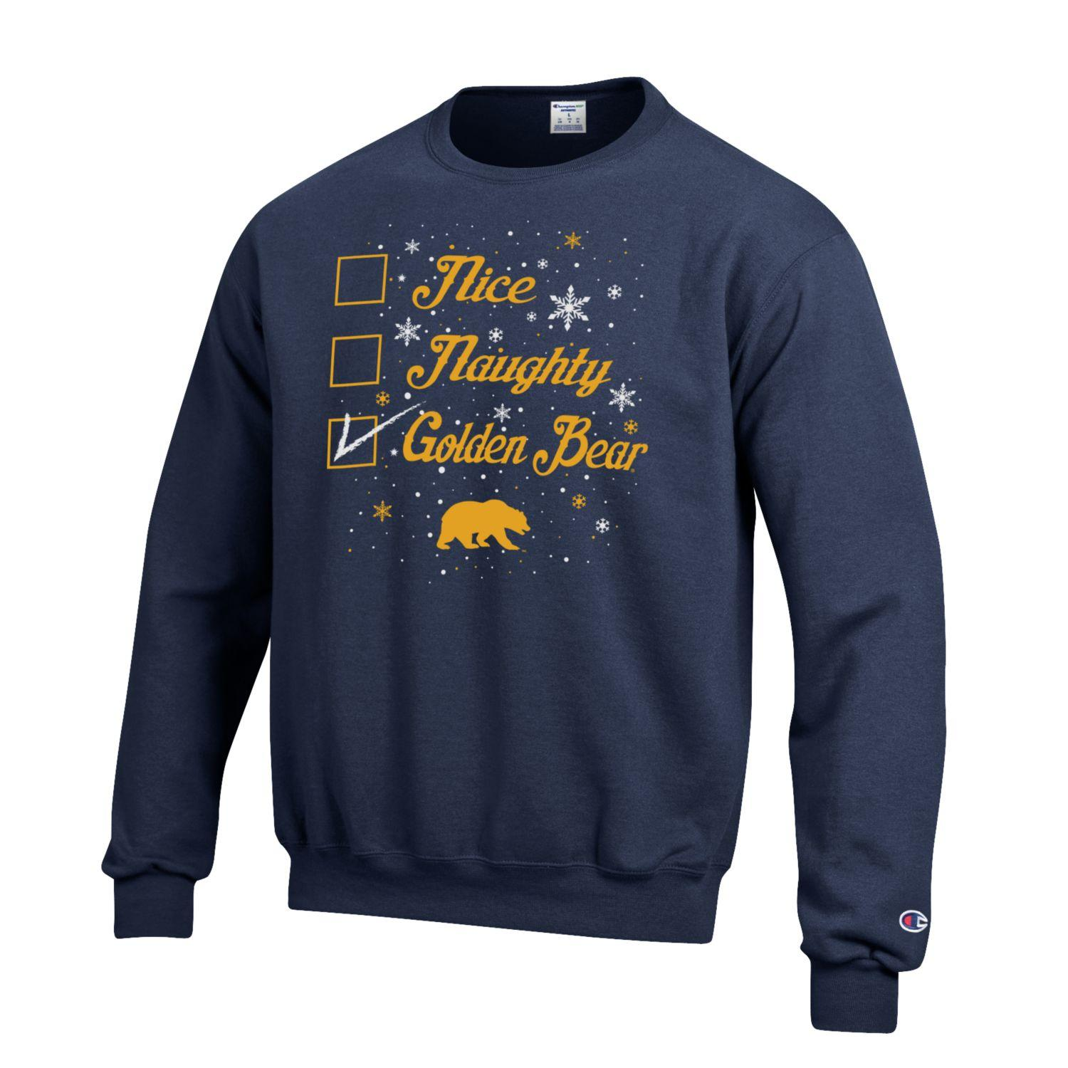 Cal Bears Champion Ugly Sweater 'Nice, Naughty, Golden Bear'