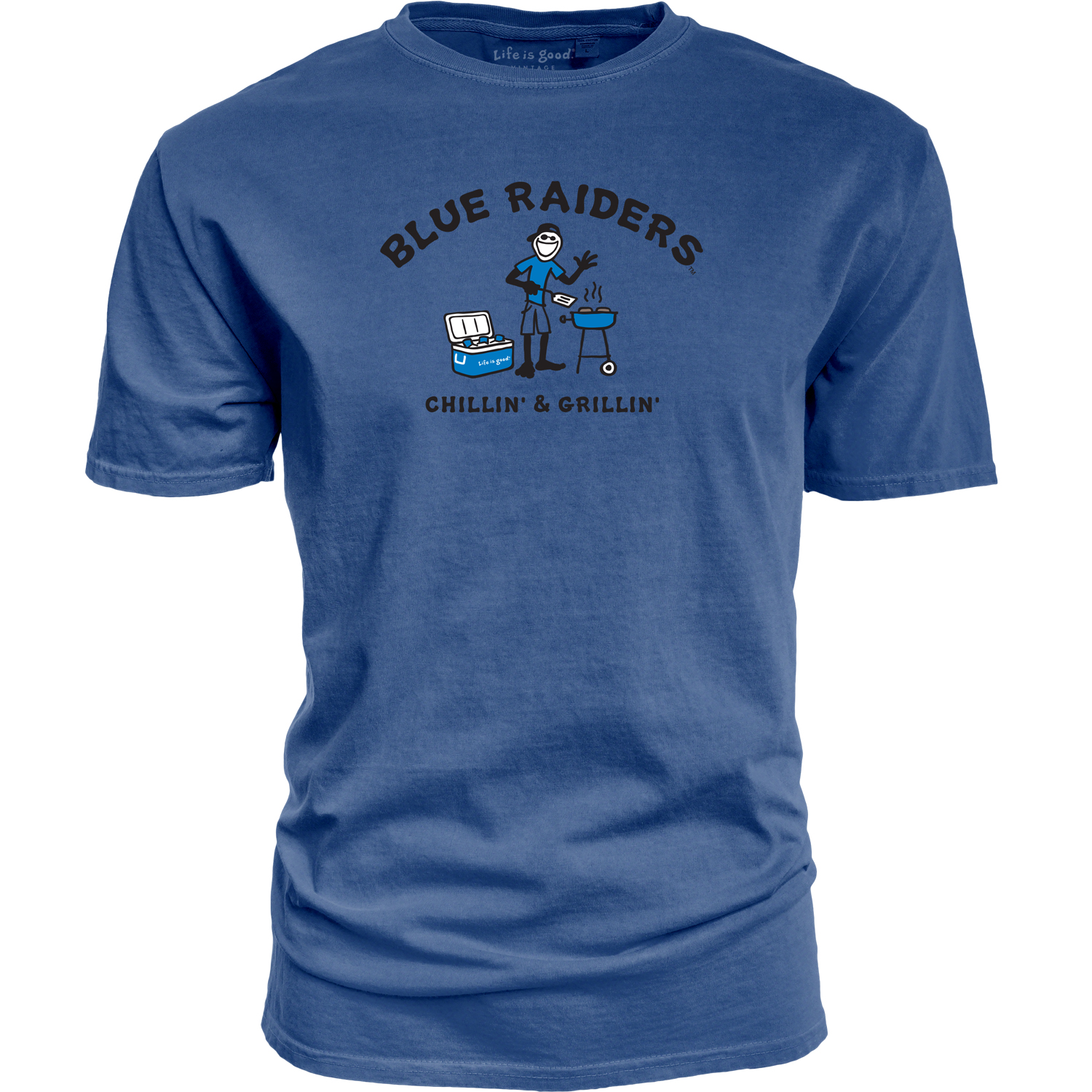 Blue Raiders Chillin' & Grillin' Life is Good® Dyed Ringspun Shirt