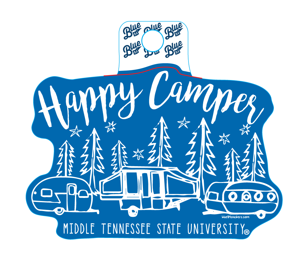 Happy Camper Middle Tennessee State University Sticker