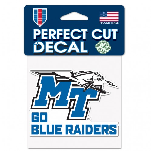 MT Logo w/ Lightning Go Blue Raiders Perfect Cut 4x4 Decal
