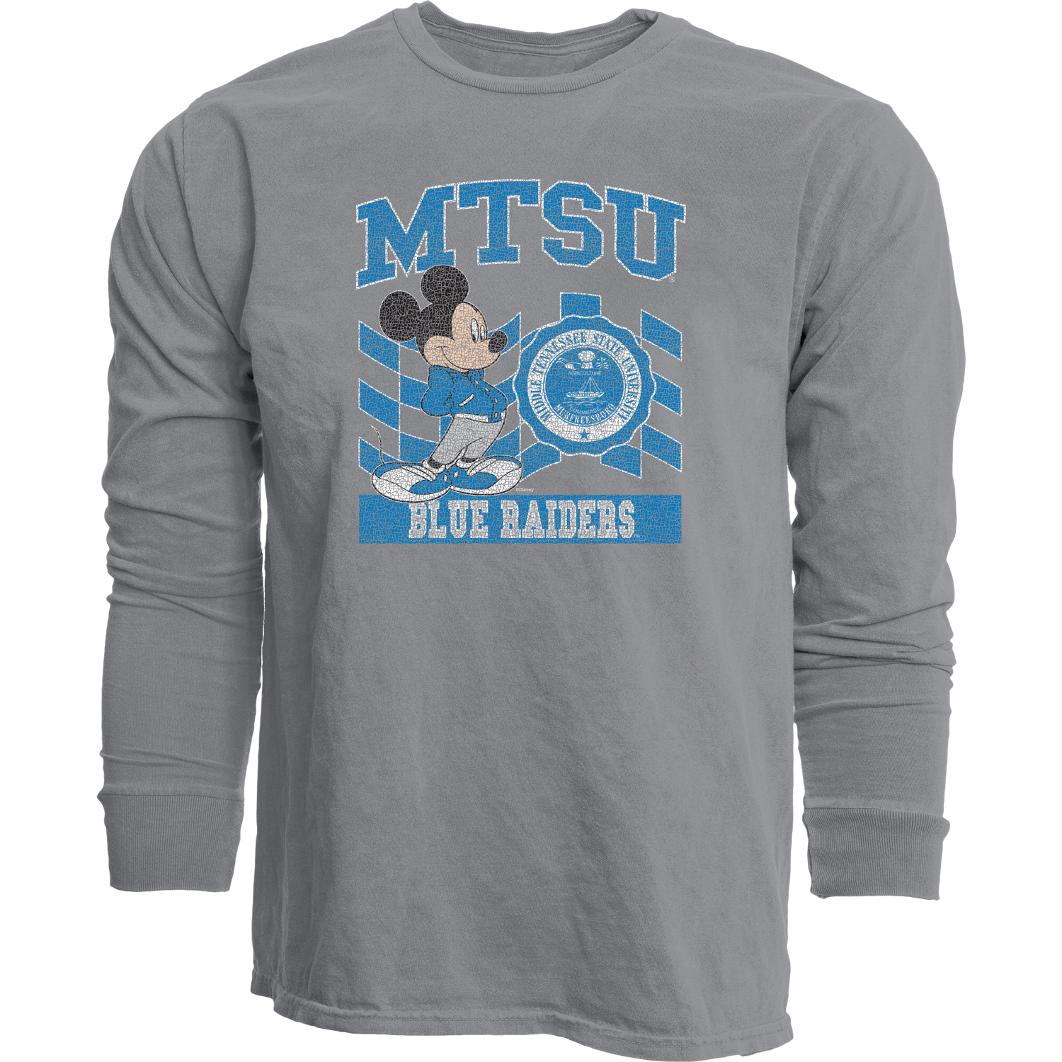 MTSU Earned Letter Mickey Dyed Ringspun Long Sleeve Shirt