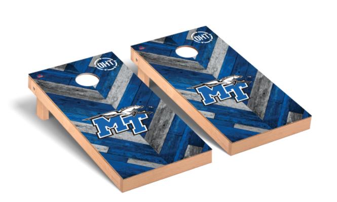 Middle Tennessee State University Blue Raiders Cornhole Game Set OHT Herringbone Version