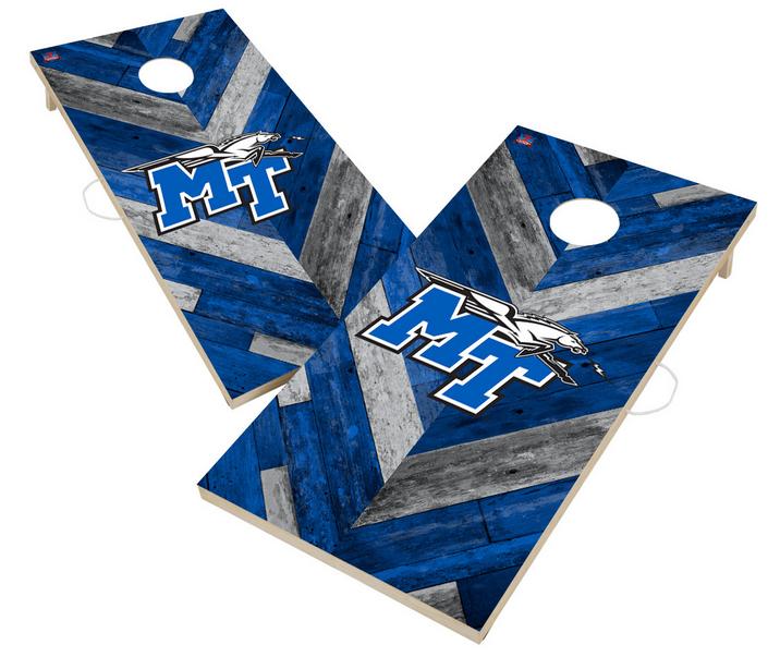 Middle Tennessee State University Blue Raiders Solid Wood 2x4 Cornhole Board Set Herringbone Design