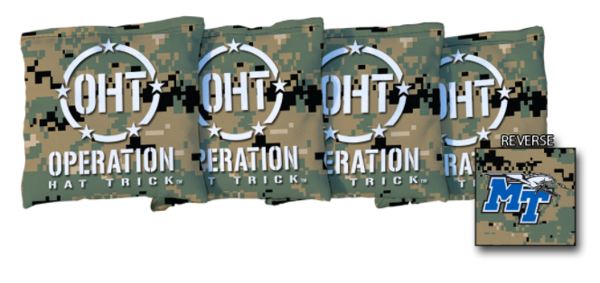 Operation Hat Trick Middle Tennessee State Blue Raiders Jungle Regulation Corn Filled Cornhole Bags