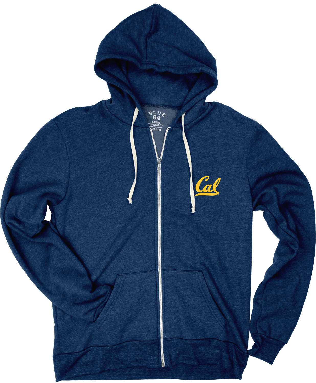 Cal Bears Men's Triblend Fleece FZ Hood Cal Logo