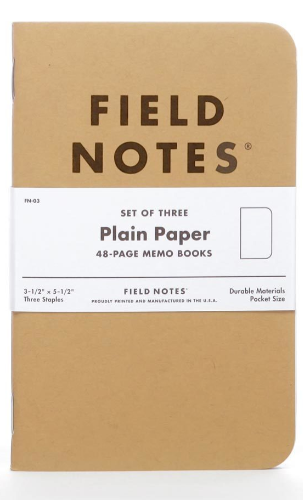 Field Notes Set of 3 -- Plain Memo Books