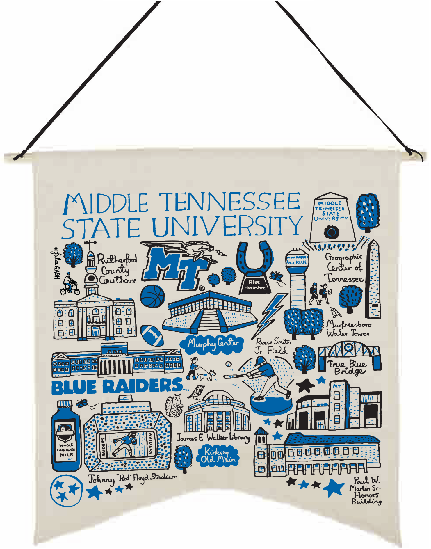 MTSU Julia Gash Natural Canvas Banner