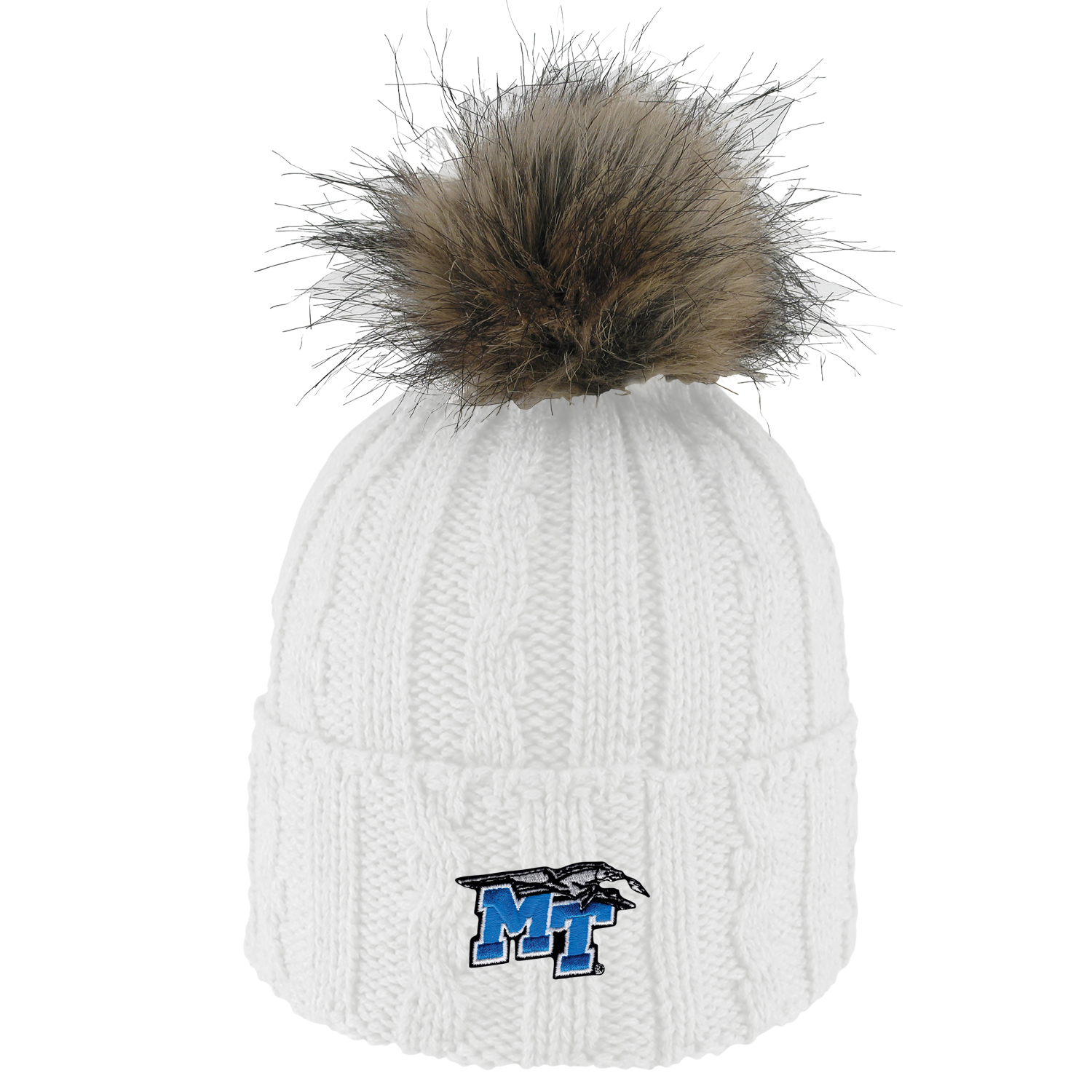 MT Logo w/ Lightning 'Alps' Knit Cuff Beanie w/ Faux Fur Pom