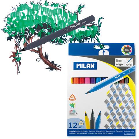 Milan Fine Tip Ergo Grip Markers, 12-Piece