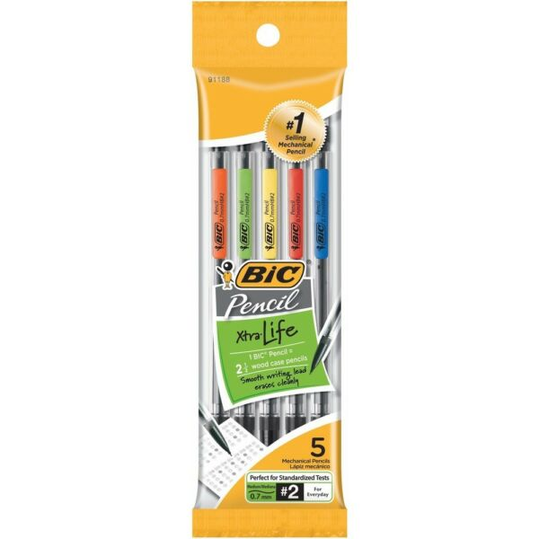 Bic Xtra-Life Mechanical Pencils, 5-Pack, 0.7mm