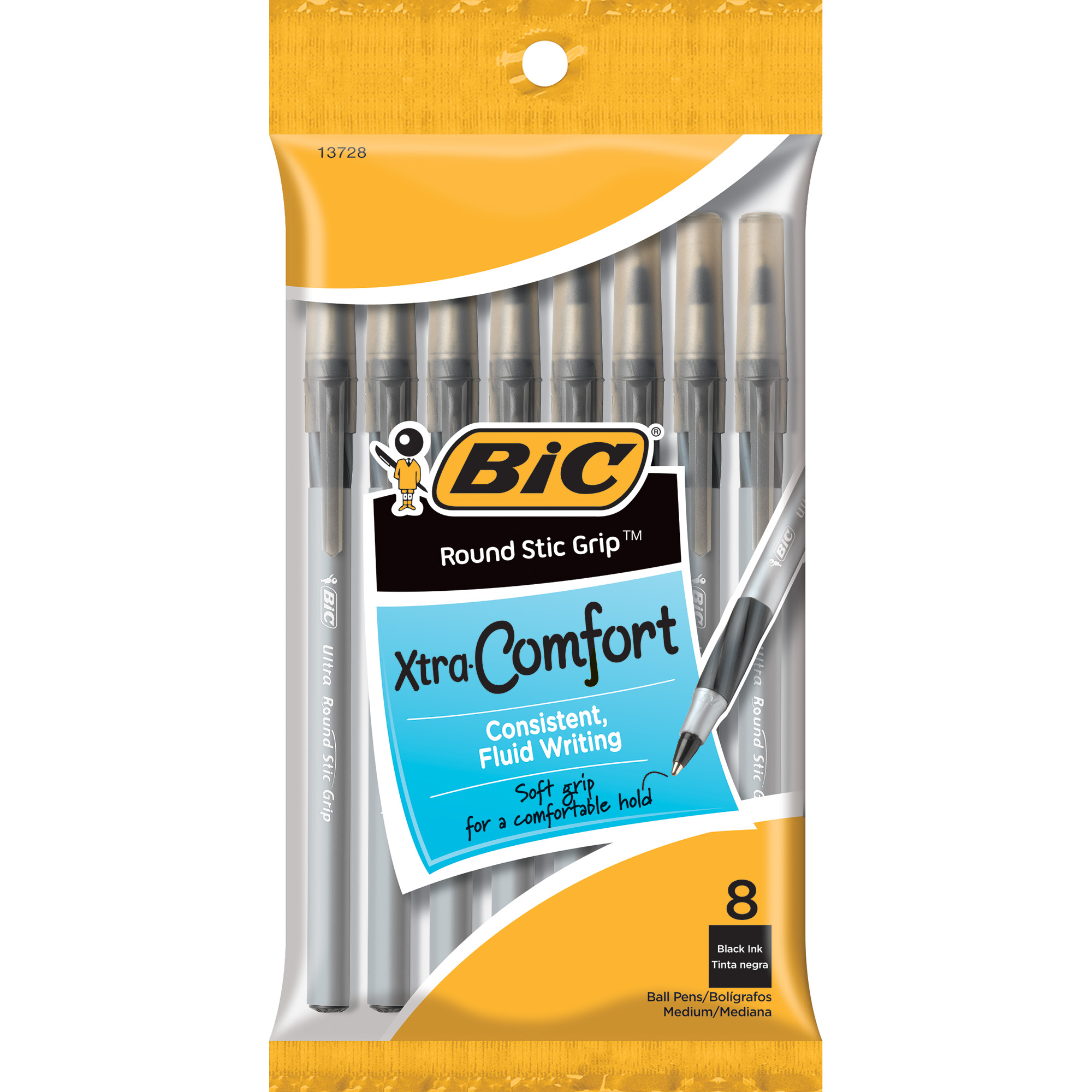 Bic Xtra-Comfort Ballpoint Pens, Black, 8-pack