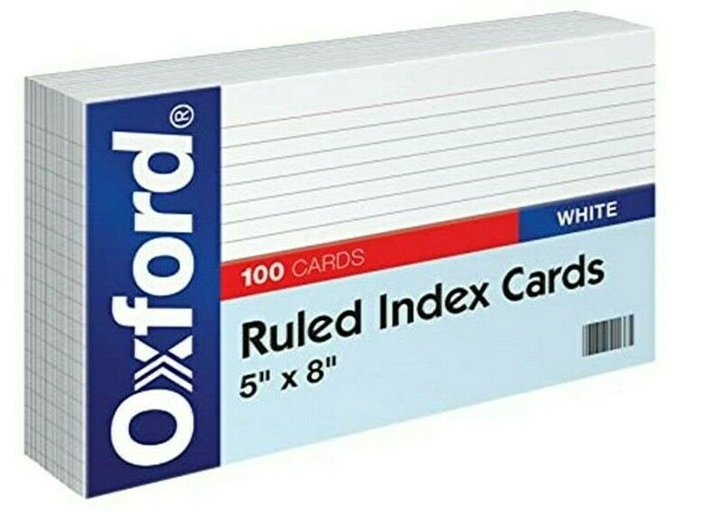 "Oxford Ruled Index Cards, 5""x8"""