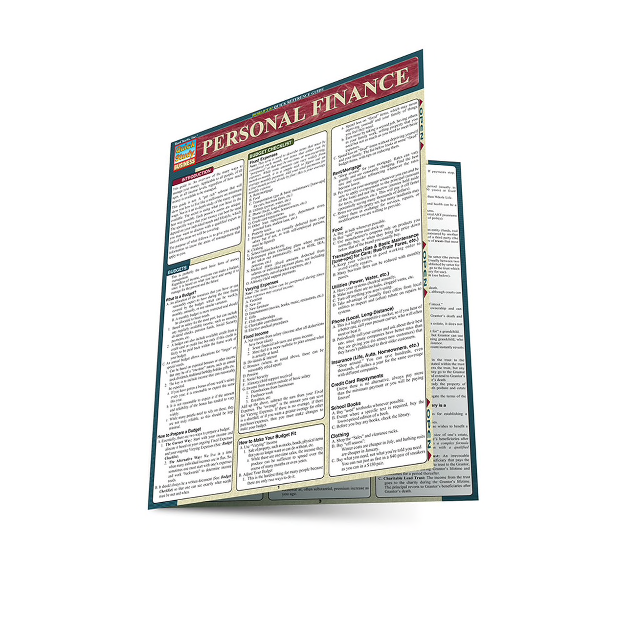 Personal Finance QuickStudy Laminated Reference Guide
