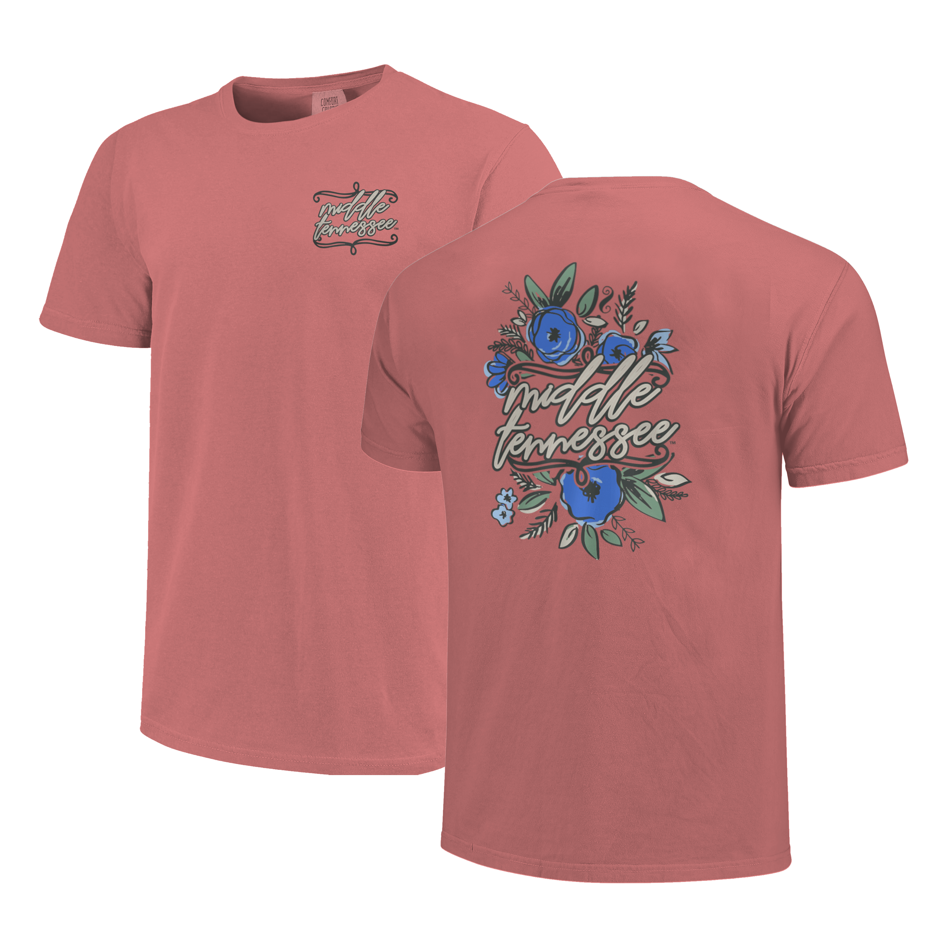 Middle Tennessee Floral Script Comfort Colors Shirt