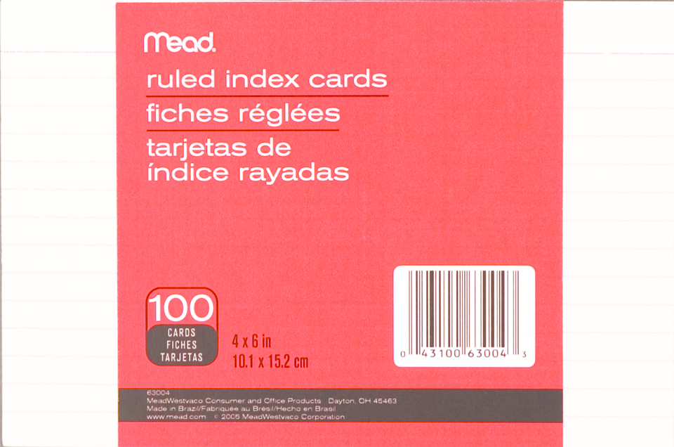 Mead Index Card - White 4x6in 100Ct Bulk Ruled