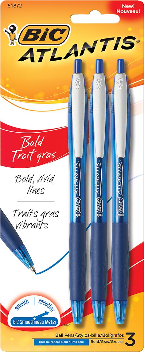 BIC Atlantis Bold Retractable Ballpoint Pen - Blue 1.6mm 3Pk BP