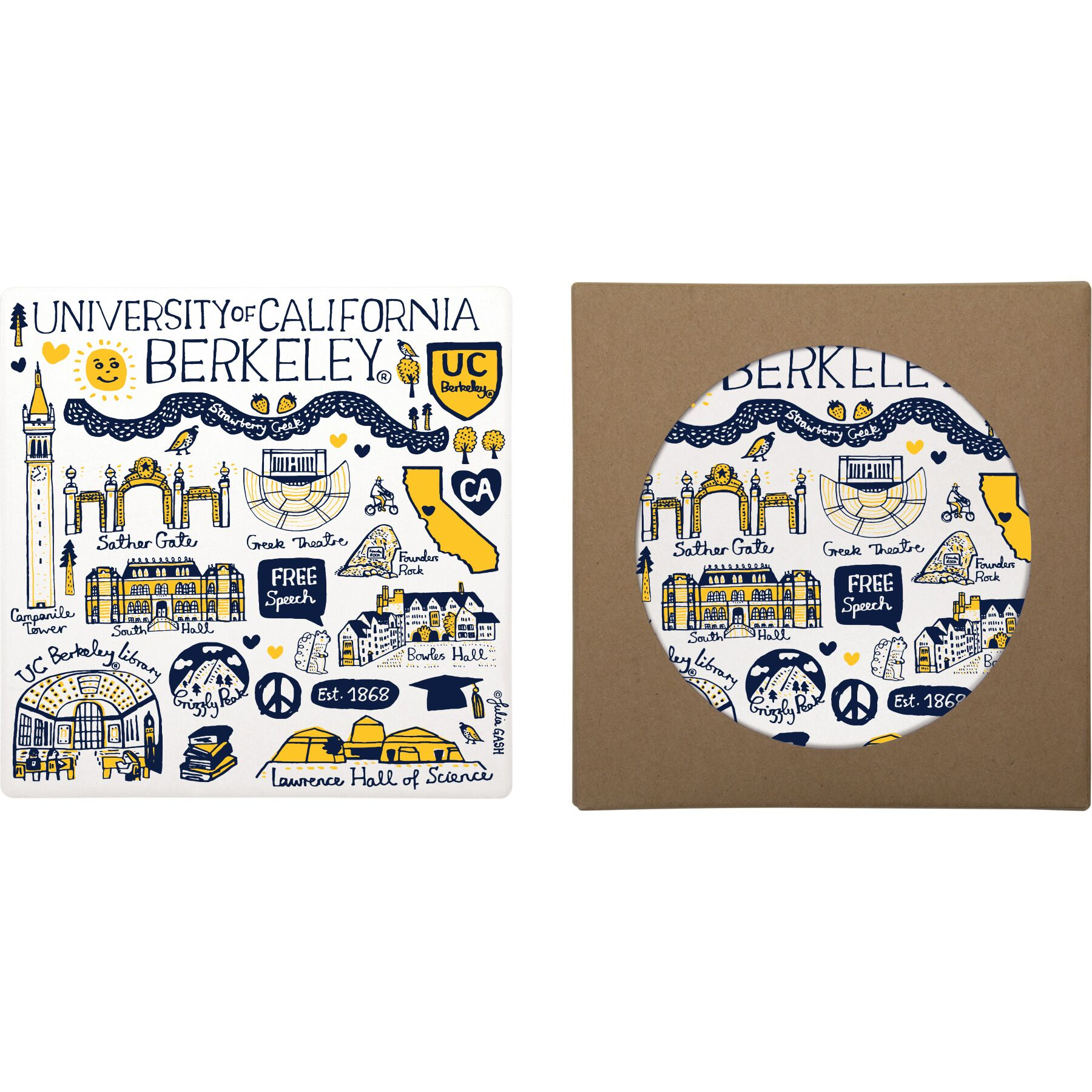 Cal Bears Square Absorbent Stone Trivet by Julia Gash