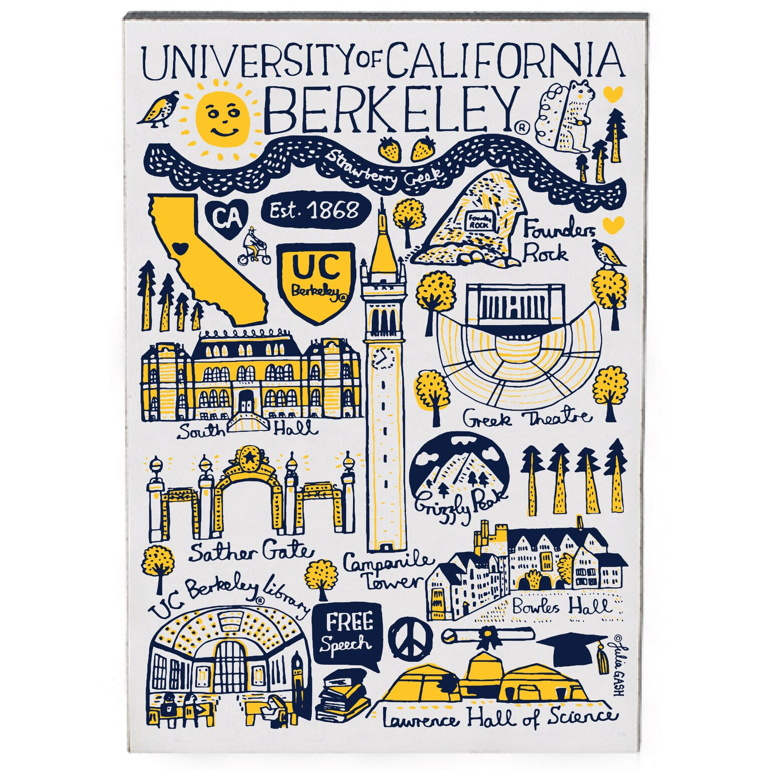 Cal Bears Jumbo Magnet by Julia Gash