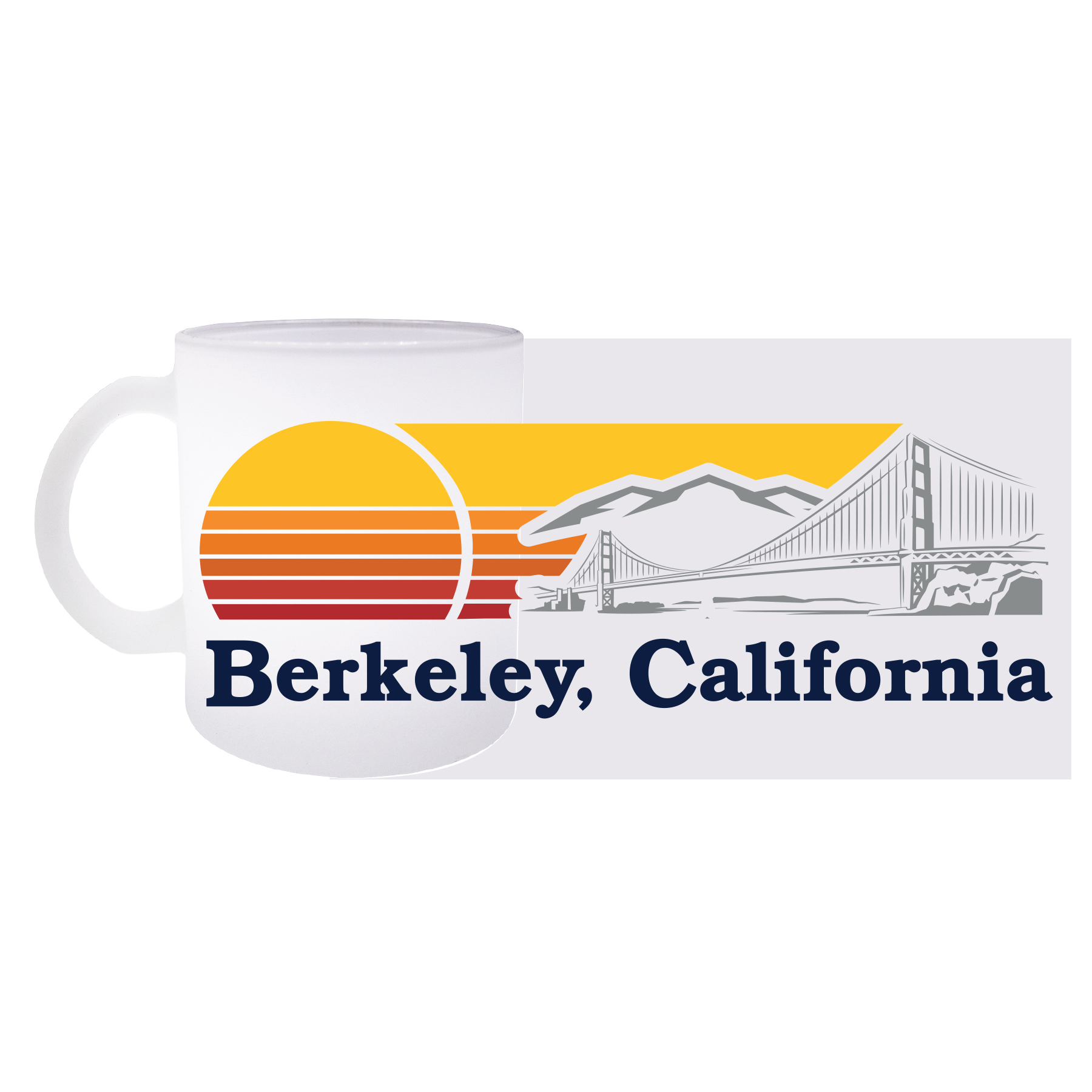 Cal Bears 15oz Frosted Glass Mug California Golden Bears Bridge