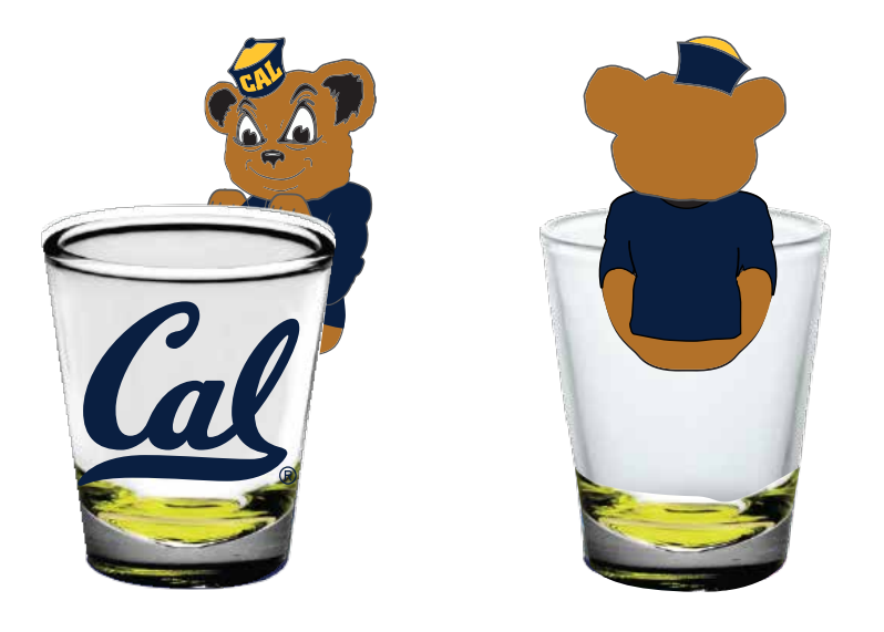 Cal Bears 1oz Shot Glass with 3D Oski