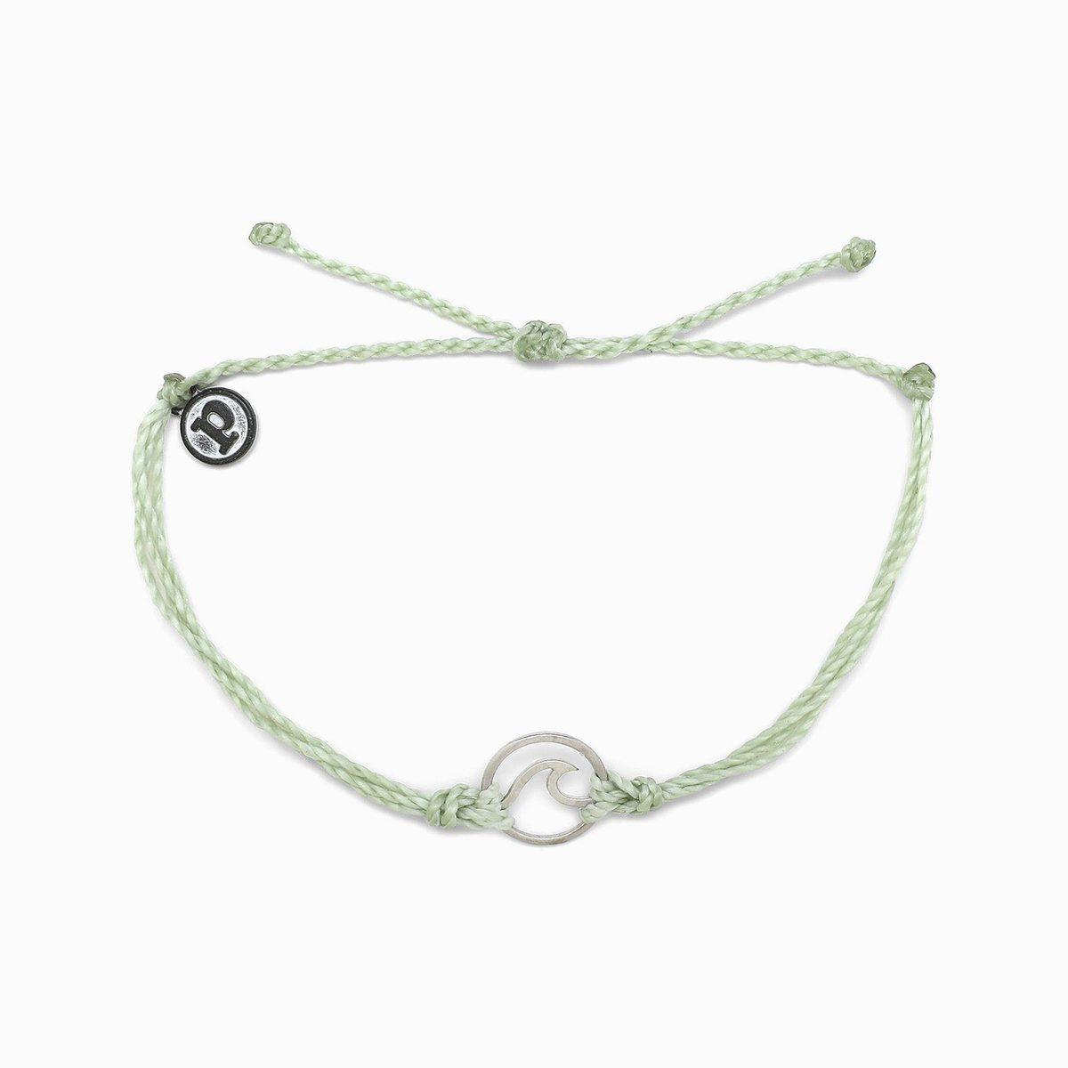 Pura Vida Silver Wave Bracelet Minty Green