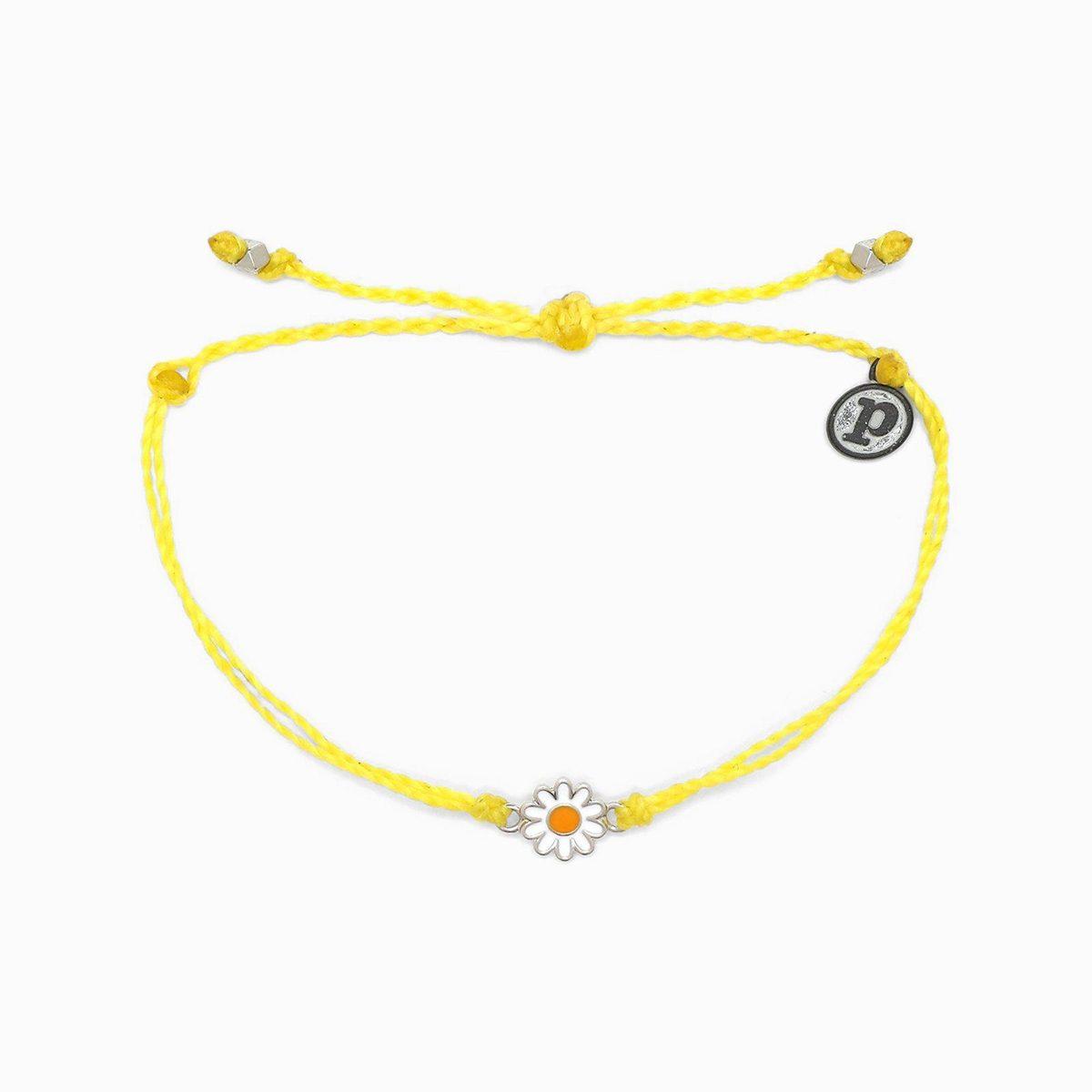 Pura Vida Silver Daisy Bracelet Yellow