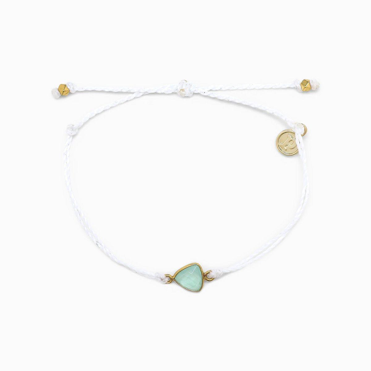 Pura Vida Gold Chalcedony Bracelet White