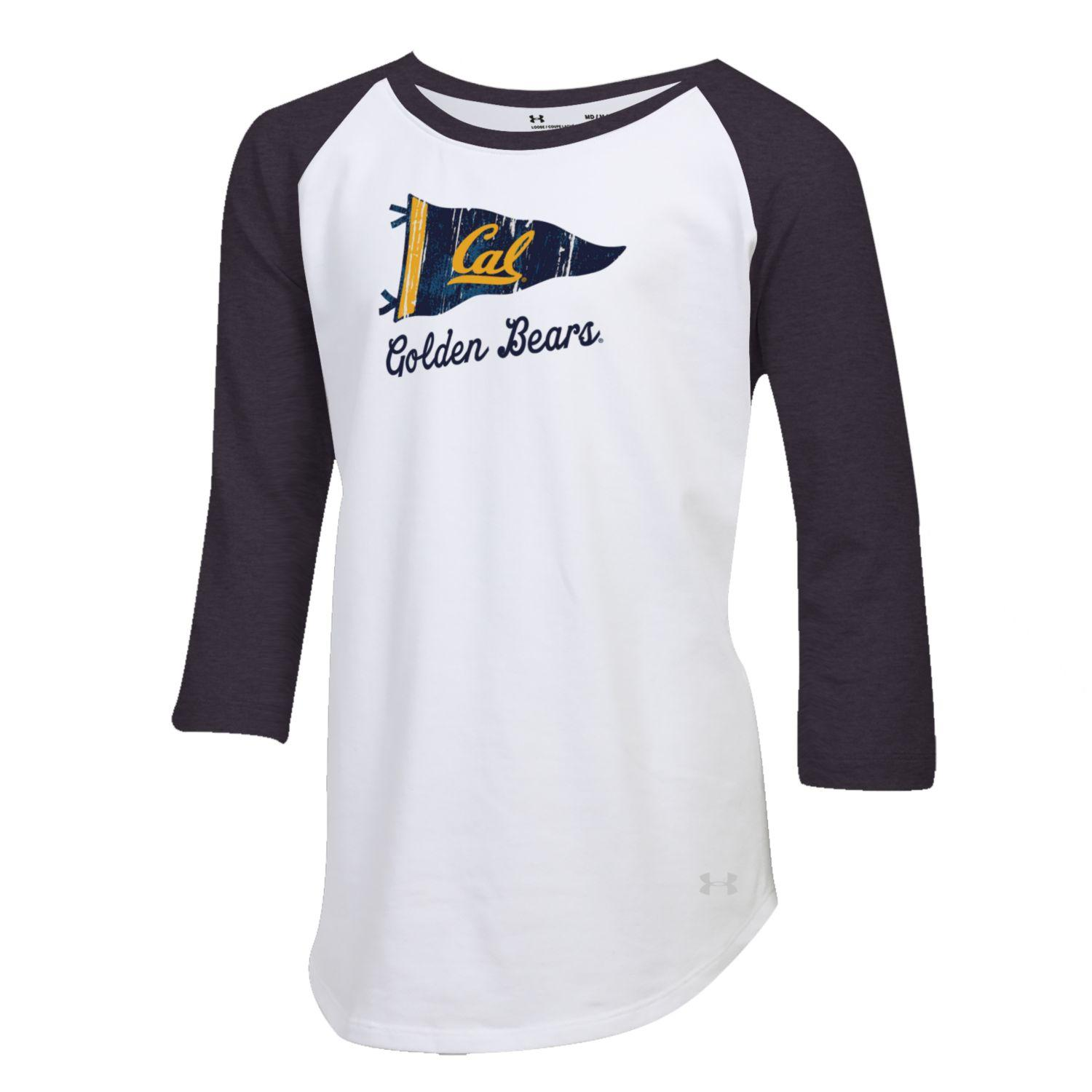 Under Armour Girls Charged Cotton Baseball 3/4 Tee Cal Flag