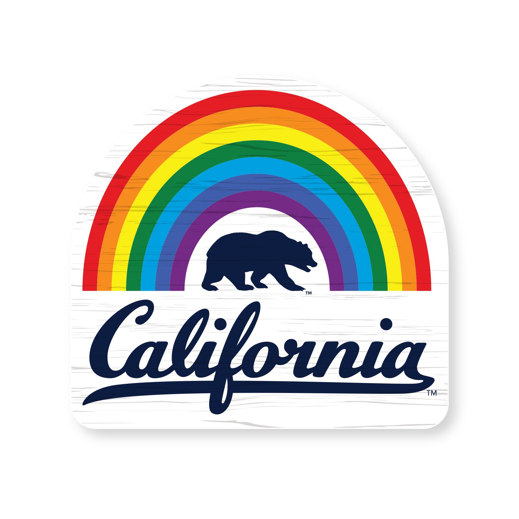 """Cal Bears Rainbow 4"""" Wood Magnet Bear California"""
