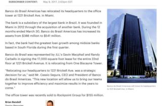 Brazilian Bank Relocates Brickell Office
