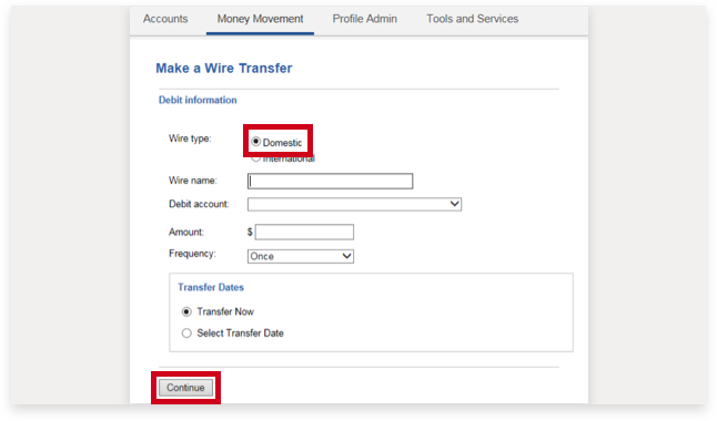 bank of america domestic wire transfer cut off time