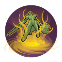 Abyssal Form: Galilea explodes into dark energy, dealing 125 damage over 4 seconds. During this time, Galilea takes reduced damage and regenerates 250 health. Cooldown: 50 Seconds