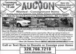 Community Consignment Auction-Saturday Aug 1. Alex Alexandria MN