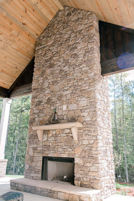 Stone Fireplace w/ T&G Ceiling