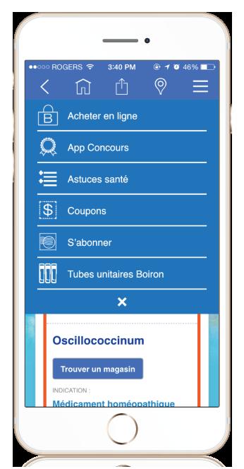 iPhone showing Boiron Medicine Finder More Menu