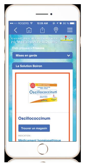 iPhone showing Boiron Medicine Finder medicine results