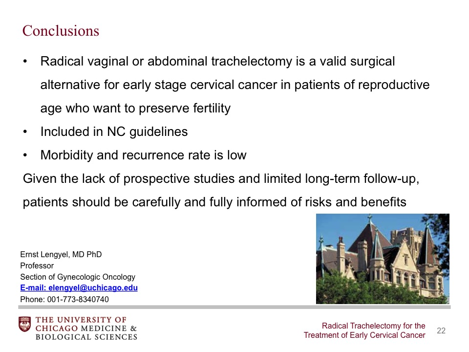 Radical Trachelectomy for the Treatment of Early Cervical