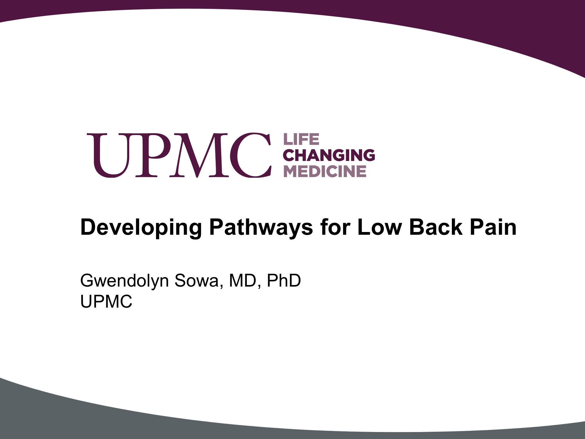 Developing Pathways for Low Back Pain