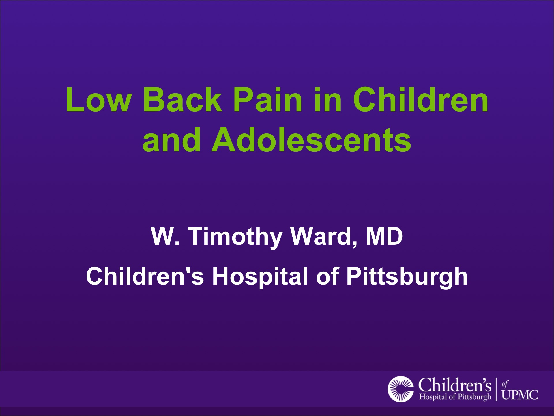 Low Back Pain in Children and Adolescents | UPMC