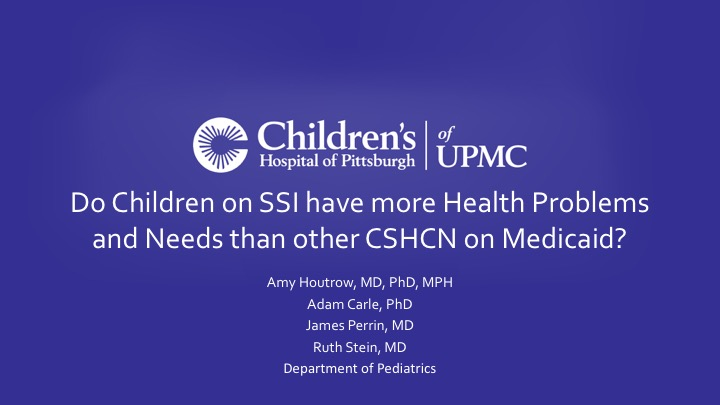 Optimizing Health and Well-being for Children with