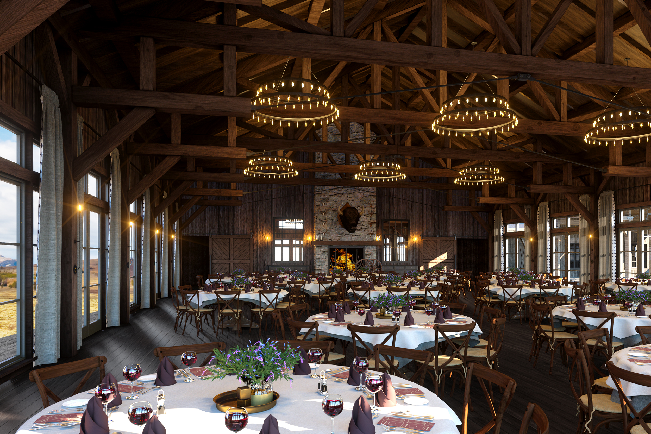 The astonishing interior of the Saddle Barn space at Brush Creek Ranch