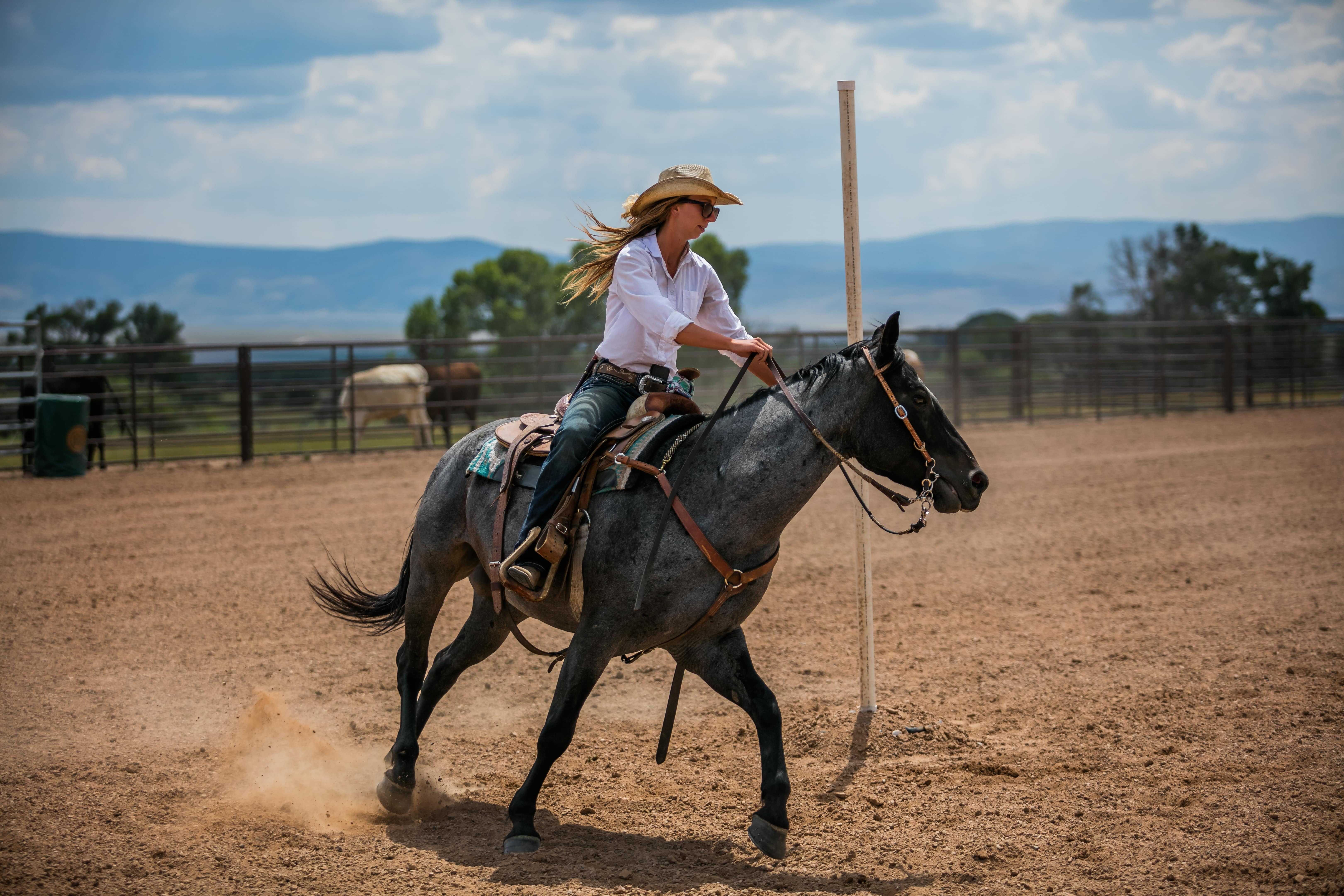 A cowgirl improving her horse-riding skills as she is trotting around the obstacles