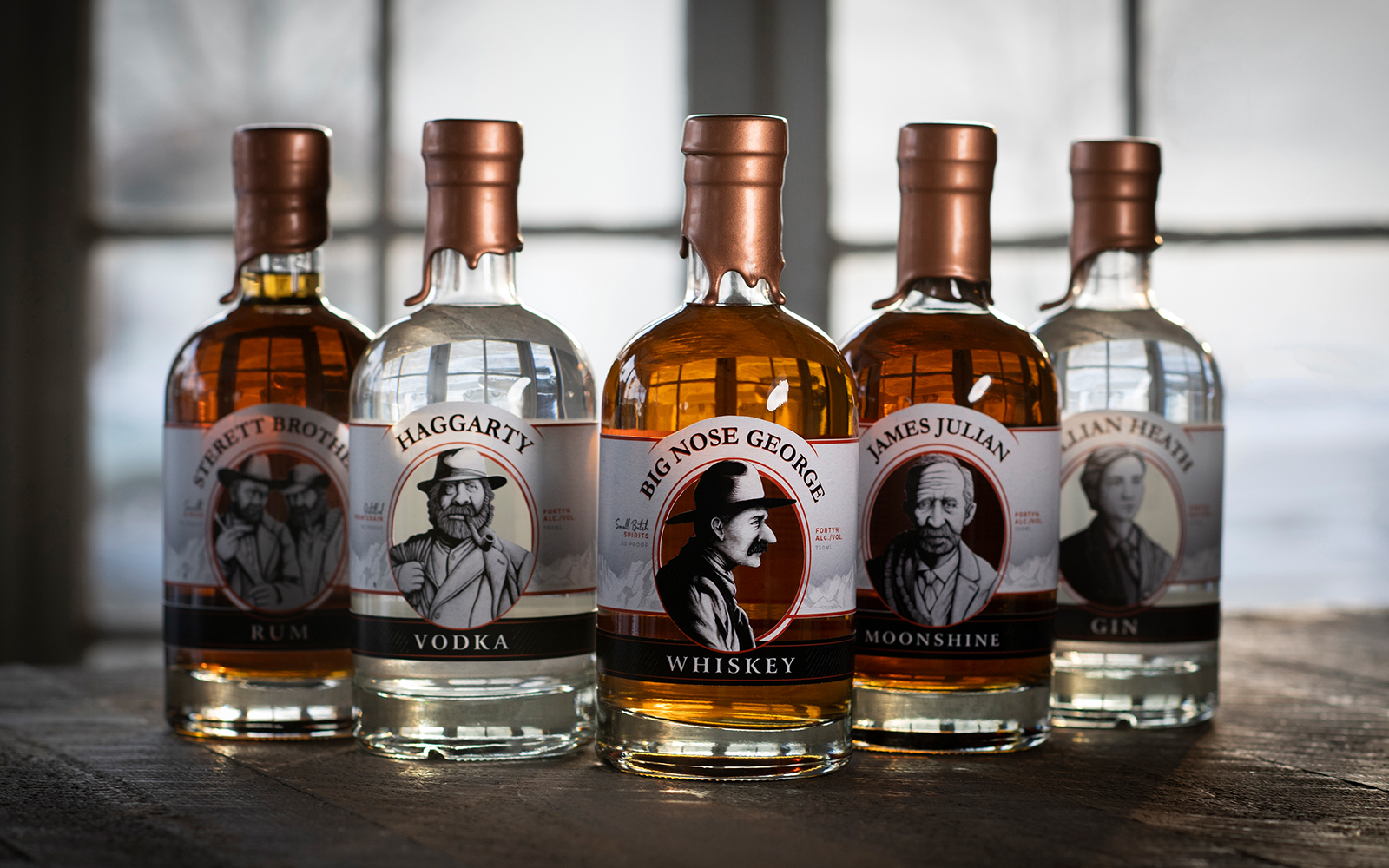 The 5 Brush Creek Distillery's exclusive collection formed by Rum, Vodka, Whiskey, Moonshine, and Gin