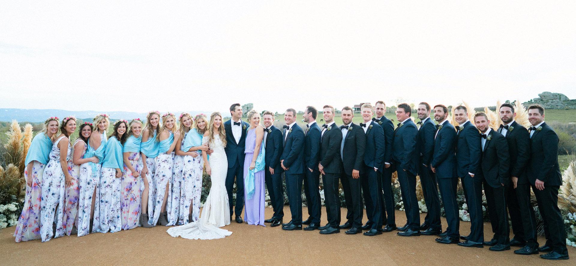 Wedding party group at Brush Creek Ranch