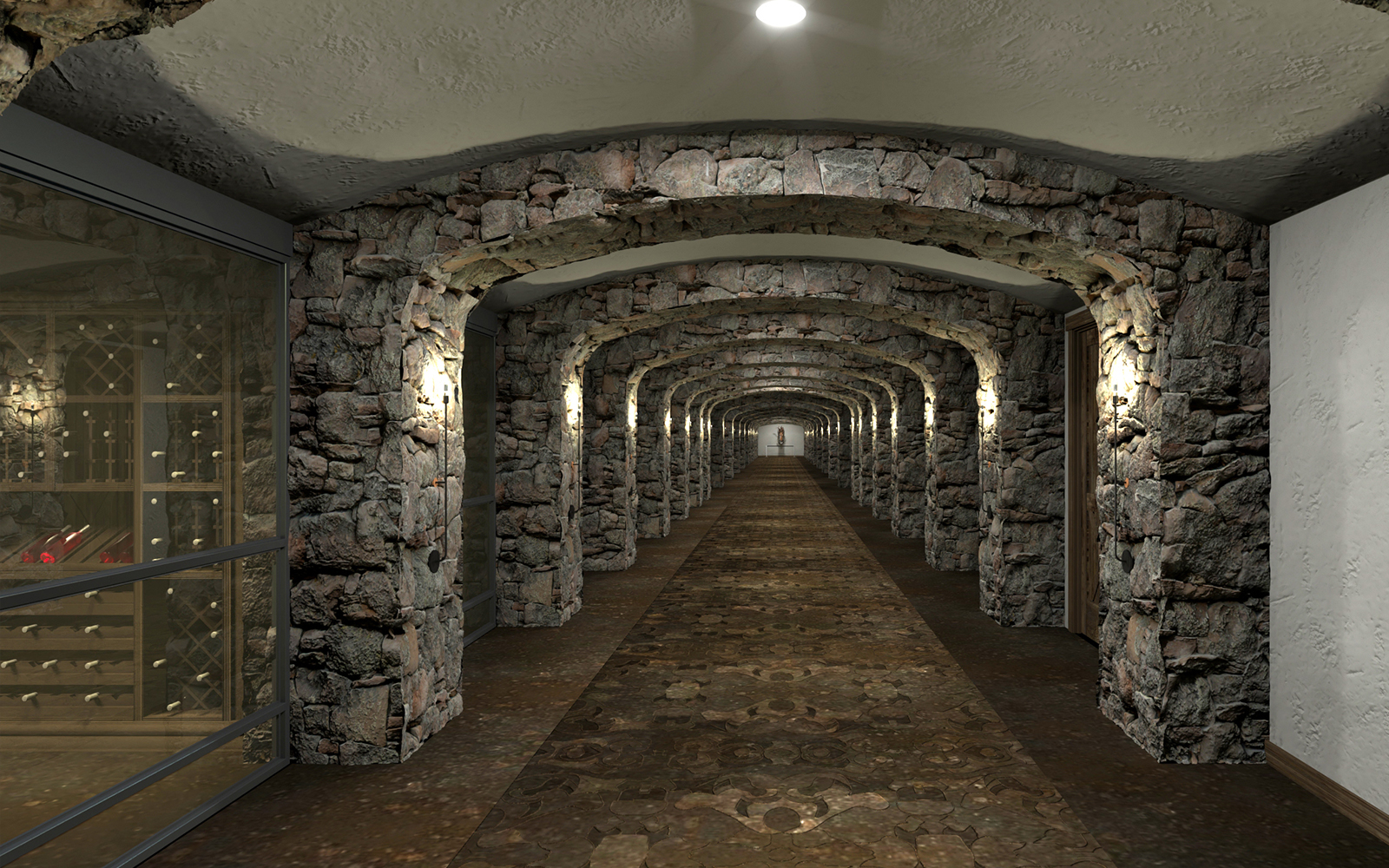 The long hall of the Brush Creek Cellar where thousands of rare and vintage wine bottles can be found