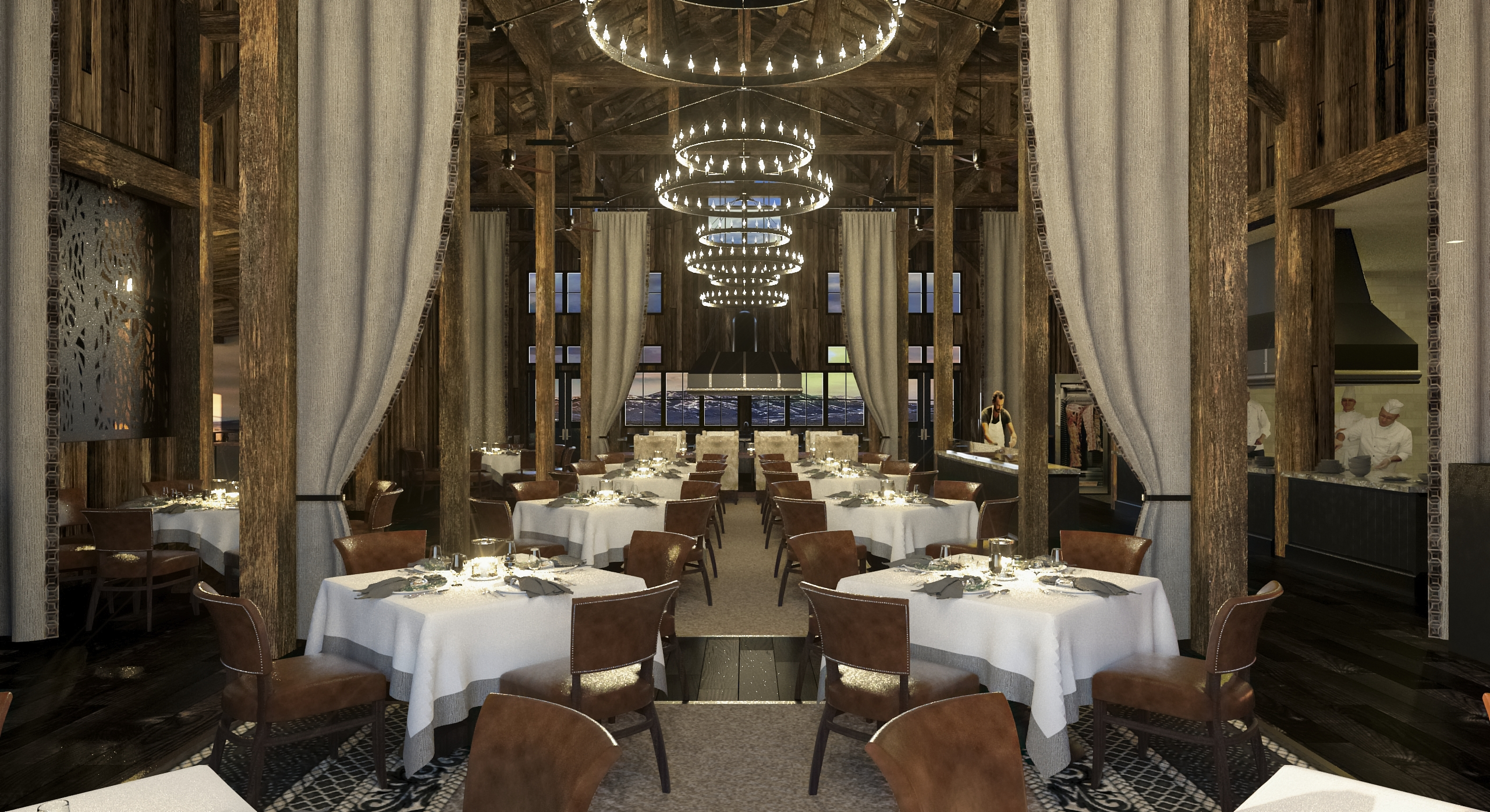 The interior of the luxury Cheyenne Club dining room at The Brush Creek Ranch