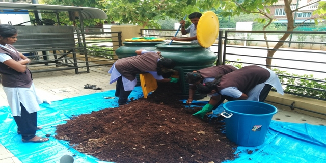 The housekeeping staff ensure the organic matter goes into the making of a beautiful garden in the premises. (Credit: Ceebros Belvedere)